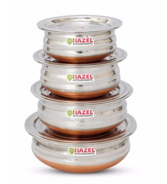 Hazel Copper Bottom Stainless Steel Urli With Lid & Scoop Set - Set Of 4