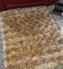 HDP Beige Polyester 48 x 32 Inch Hand Made Tufted Shaggy Carpet