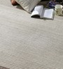HDP Grey & Ivory Wool 80 x 56 Inch Hand Woven Flat Weave Carpet