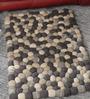 HDP Grey & White Wool 32 x 20 Inch Reversible Felt Ball Bed Side Carpet
