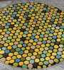 HDP Multicolour Wool 32 Inch Hand Carved Tufted Round Carpet