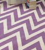 HDP Purple & White Wool 80 x 56 Inch Hand Made Flat Weave Carpet