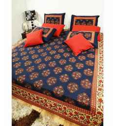 Heritage Fabs Anokhi Orange N Navy Blue Double Bed Cover Set With 2 Pillow Covers