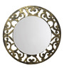 Height of Designs Black & Gold Engineered Wood Floral Mirror