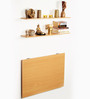 Hemming Folding Wall Mounted Study cum Laptop Table with Wall Shelves in Beech Finish by Bluewud
