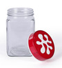 Herevin Puzzle Red Square Canister - 1.5 litre - set of 2