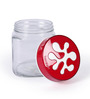 Herevin Puzzle Red Square Canister - 1 litre - set of 2