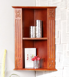 Home Sparkle Brown Mango Wood Carved Corner Shelf