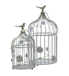 Homesake Silver Powder Coated Iron Bird Cage With Floral Vine Candle Holder- Set Of 2