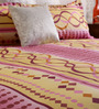Home Creation Pink & Yellow Cotton 94 x 86 Inch Double Bed Sheet (with Pillow Covers)