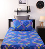 Home Ecstasy Blue Geometric Pattern Bed Sheet with One Pillow Cover-Set of 2