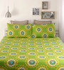 Home Ecstasy Green Cotton Queen Size Bed Sheet - Set of 3
