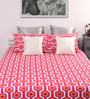 Home Ecstasy Pinks Abstract Patterns Cotton Queen Size Bed Sheets - Set of 3