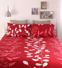 Home Ecstasy Red Cotton Queen Size Bed Sheet - Set of 3