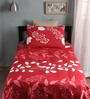 Home Ecstasy Red Cotton Single Size Bed Sheet - Set of 2