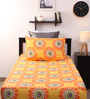 Home Ecstasy Yellow Cotton Single Bed Sheet with One  Pillow Cover-Set of 2