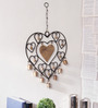 Home Sparkle Black Mild Steel Heart Wind Chime Wall Hanging