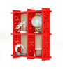 Home Sparkle Red Engineered Wood 4 Pocket Carved Wall Shelf