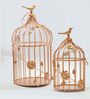 Homesake Golden Powder Coated Iron Bird Cage with Floral Vine Candle Holder - Set of 2