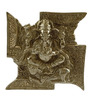 Homesake Silver Metal Hand-carved Lord Ganesh on Swastika