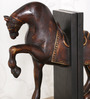 Ethnic Clock Makers Wenge Solid Wood Horse Bookend