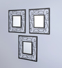 Hosley Black Iron & Glass Square Decorative Wall Mirrors - Set of 3