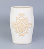 Hosley White Ceramic Decorative Vase with Scroll Design