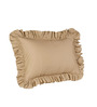 Hothaat Solid Beige Queen 2Pc Ruffle Pillow Covers