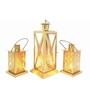 House2home Gold Iron Lantern - Set Of 3