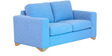 Iganzio Two Seater Sofa in Sea Blue Colour by CasaCraft