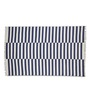 Imperial Knots Blue & Ivory Wool 96 x 60 Inch Stripes Handwoven Flat weave Area Rug