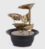 Importwala Brown & Gold Metal & Resin Leaf-Shaped Indoor Fountain