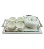 Importwala Silver Ceramic and Wood 6-piece Tea Pot Set