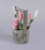 Importwala Multicolour Polyester Artificial Flowers & Teddy with Wooden Barrel