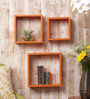 Importwala Orange Cube MDF Wall Shelves - Set of 3