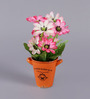 Importwala Multicolour Polyester Vintage Artificial Flower with Ceramic Pot
