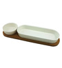 Importwala White Ceramic and Wood 250 ML 3-piece Chip and Dip Bowl Set