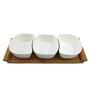 Importwala White Ceramic and Wood 300 ML 4-piece Bowl Set