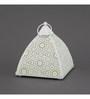 Indecrafts Etched White Iron Pyramid Tealight Holder