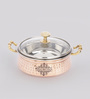 Indian Art Villa Steel & Copper 500 ML Casserole with Lid