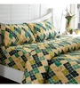 Inhouse by Maspar Antique Argyle Print Green 1 Double Bedsheet with 2 Pillow Cover