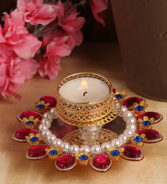 Itiha Golden Metal Pink And Blue Stone-studded Tealight Holder
