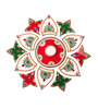 Itiha Floral Red, Green, and White Acrylic Rangoli with Golden Tealight Holder and Candle