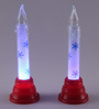 Maxey Set Of 2 Christmas Snow Led Candle in Multicolour by Amberville