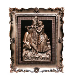 Jaipurcrafts Multicolor Plastic Radha-Krishna With Diamond Design Photo Frame Showpiece