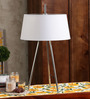 Jainsons Emporio Mastro Silver & White Metal & Fabric Tripod Table Lamp