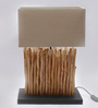Jainsons Emporio Mini Vertico Beige & Brown Linen & Wooden Table Lamp