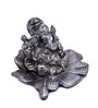 JaipurCrafts Silver Aluminum Lord Ganesha Statue on Flower Statue