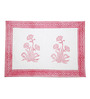 Jodhaa Floral White And Pink Cotton Table Mats - Set Of 8