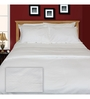Just Linen White Cotton King Size Flat Bedsheet - Set of 3